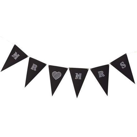 Bandierine di cartoncino nero con scritte bianche
