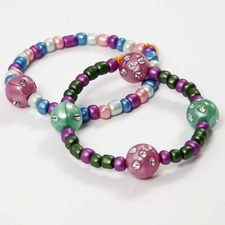 Braccialetti di cordino elastico, perline rocaille e perline con lustrini