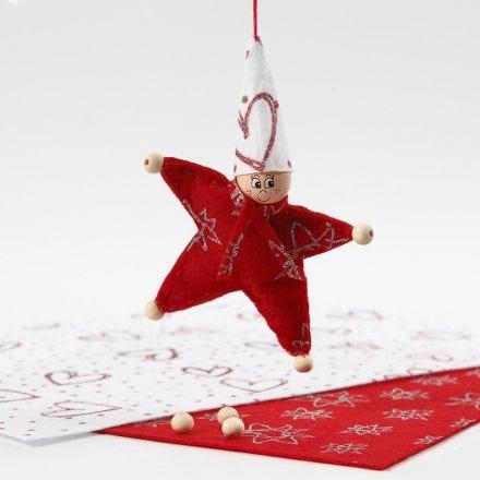 Folletto a forma di stella realizzato in feltro con glitter