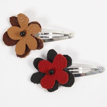Molletta per capelli con fiore in cuoio