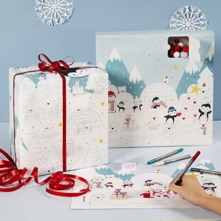 Colorare su un calendario dell'Avvento a scatole e su carta da regalo con disegni Winter Wonderland