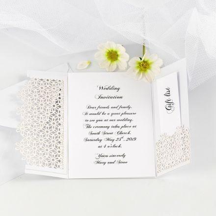 Doppia partecipazione nuziale decorata con cartoncino a merletto