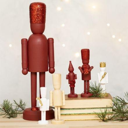 Figure dello schiaccianoci in legno con glitter