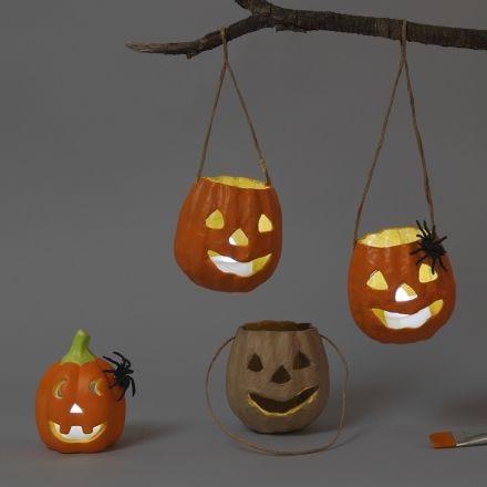 Lanterne di Halloween in cartapesta e in terracotta