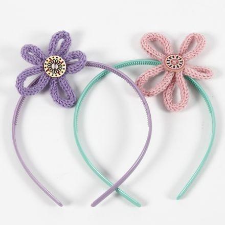 Accessori per capelli con fiori in tubolare a maglia