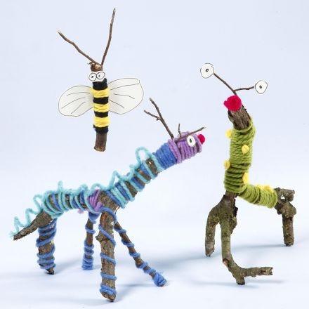 Animali e insetti realizzati con ramoscelli, bastoncini, lana e Sticky Base