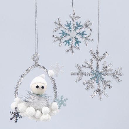 Shiny hanging decorations with an elf and snowflakes