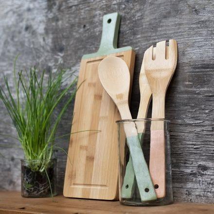 Utensili per la cucina in bambù pitturati con vernice Plus Clor