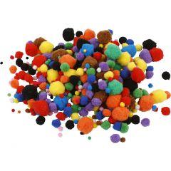 Pon-pon, diam: 5-40 mm, colori asst., 42 g/ 1 conf.