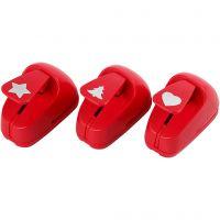 Perforatori per la carta, stella, cuore, albero di Natale, misura 16 mm, rosso, 1 set