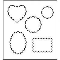 Fustella in acciaio, forme con lati a curve, misura 14x15,25 cm, spess. 15 mm, 1 pz