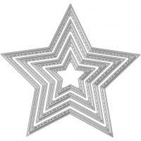 Mascherina per embossing e fustella, stella, diam: 3,5-11,5 cm, 1 pz