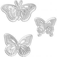 Mascherina per embossing e fustella, farfalla, misura 5x4,5+6,5x5+8x4,5 cm, 1 pz