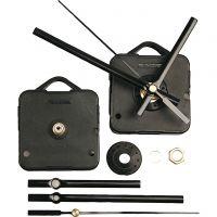 Meccanismo per orologio, spessore piastra massimo 3 mm, nero, 1 set