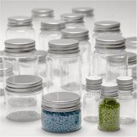 Vasetti di plastica con tappo a vite, H: 35-77 mm, diam: 24-45 mm, 13+35+50+100 ml, 80 pz/ 1 conf.