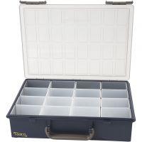 Scatola portaoggetti, 16 scatole a inserto removibili, H: 8 cm, misura 33,8x26,1 cm, 1 set