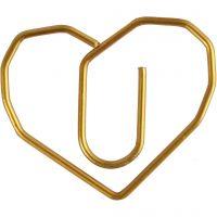 Fermagli, cuore, misura 30x20 mm, oro, 6 pz/ 1 conf.