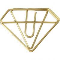 Fermagli, diamante, H: 25 mm, L: 35 mm, oro, 6 pz/ 1 conf.