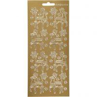 Stickers, renna, 10x23 cm, oro, 1 fgl.