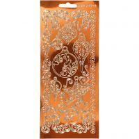 Stickers, ornamenti, 10x23 cm, oro, 1 fgl.
