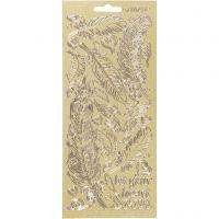 Stickers, piume, 10x23 cm, oro, 1 fgl.