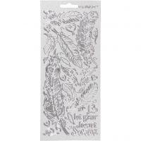 Stickers, piume, 10x23 cm, argento, 1 fgl.