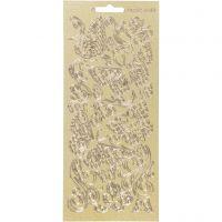 Stickers, farfalle, 10x23 cm, oro, 1 fgl.