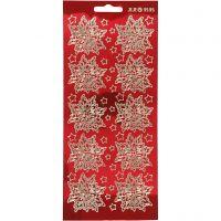 Stickers, stella di Natale, 10x23 cm, oro, transparent rosso, 1 fgl.