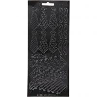 Stickers, cravatte, 10x23 cm, nero, 1 fgl.