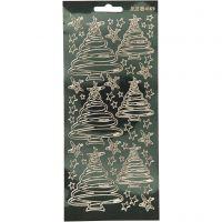 Stickers, albero di Natale, 10x23 cm, oro, 1 fgl.