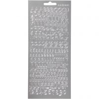 Stickers, alfabeto, 10x23 cm, argento, 1 fgl.