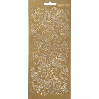 Stickers, agrifoglio, 10x23 cm, oro, 1 fgl.
