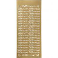 Stickers, velkommen, 10x23 cm, oro, 1 fgl.