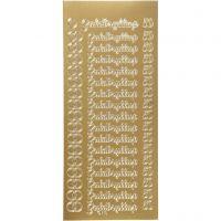 Stickers, guldbryllup, 10x23 cm, oro, 1 fgl.
