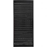 Stickers, lettere piccole, minuscole, 10x23 cm, nero, 1 fgl.
