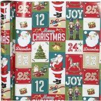 Confezione regalo, Natale inglese, L: 70 cm, 80 g, 4 m/ 1 rot.