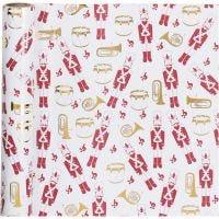 Confezione regalo, schiaccianoci, L: 70 cm, 80 g, oro, rosso, bianco, 2 m/ 1 rot.