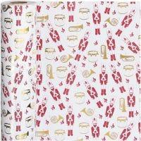 Confezione regalo, schiaccianoci, L: 57 cm, 80 g, oro, rosso, bianco, 75 m/ 1 rot.