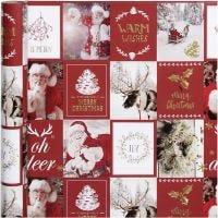 Confezione regalo, motivi natalizi, L: 50 cm, 80 g, oro, rosso, 3 m/ 1 rot.