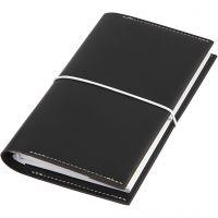 Agenda, misura 10x18x1,5 cm, chiusura con elastico, nero, 1 pz