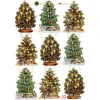 Figure fustellate vintage, albero di Natale, 16,5x23,5 cm, 3 fgl./ 1 conf.