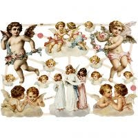 Figure fustellate vintage, angeli grandi, 16,5x23,5 cm, 3 fgl./ 1 conf.
