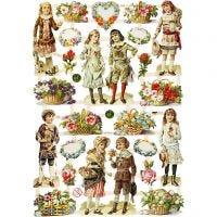 Figure fustellate vintage, bambini e fiori, 16,5x23,5 cm, 3 fgl./ 1 conf.