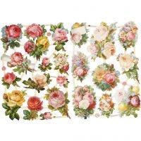Figure fustellate vintage, rose, 16,5x23,5 cm, 2 fgl./ 1 conf.