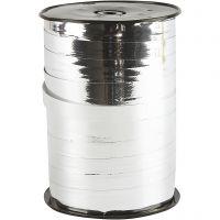 Nastro arricciabile, L: 10 mm, brillante, argento metallico, 250 m/ 1 rot.