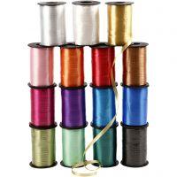 Nastro arricciabile - assortimento, L: 10 mm, brillante, colori asst., 15x250 m/ 1 conf.