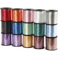 Nastro arricciabile - assortimento, L: 10 mm, brillante, colori asst., 15x50 m/ 1 conf.