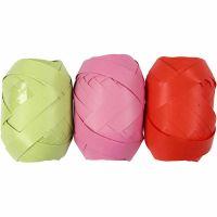 Nastro arricciabile, L: 10 mm, verde lime, rosa, rosso, 3x10 m/ 1 conf.