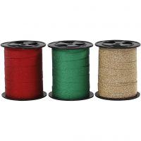 Nastro arricciabile, L: 10 mm, glitter, oro, verde, rosso, 3x15 m/ 1 conf.