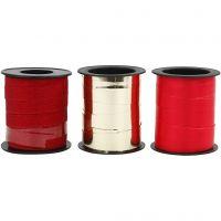 Nastro arricciabile, L: 10 mm, oro, rosso, rosso glitter, 3x15 m/ 1 conf.